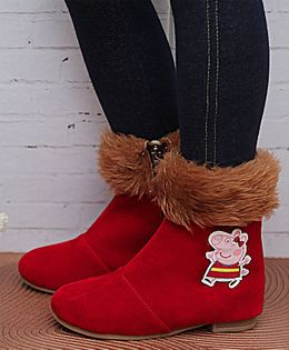 D'chica Peppa Pig Applique Fur Boots - Red