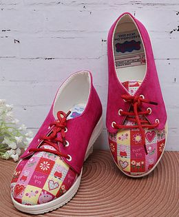 D'chica Peppa Pig Heart Print Lace Up Shoes - Fuchsia Pink