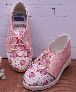 D'chica Peppa Pig Heart Print Shoes - Pink