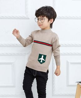 Pre Order - Awabox Aeroplane Patch Long Sleeves Sweater - Beige