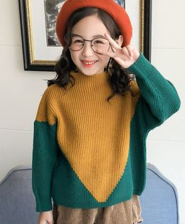 Pre Order - Awabox Dual Color Long Sleeves Sweater - Green