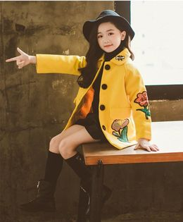 Pre Order - Awabox Flower Embroidered Full Sleeves Coat - Yellow