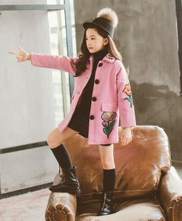 Pre Order - Awabox Flower Embroidered Full Sleeves Coat - Pink