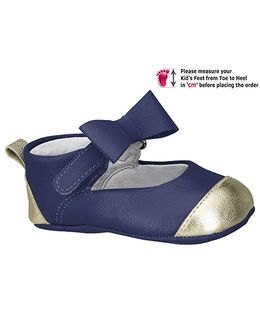 Elefantastik Baby Ballerina Shoes With Bow Strap Blue And White Gold