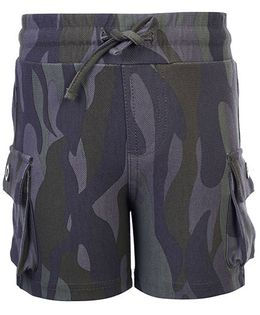 Fox Baby French Terry Army Print Bermuda - Army Green