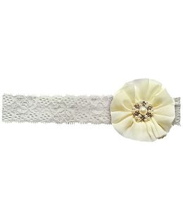 Little Cuddle Lace Baby Headband - Pearl white