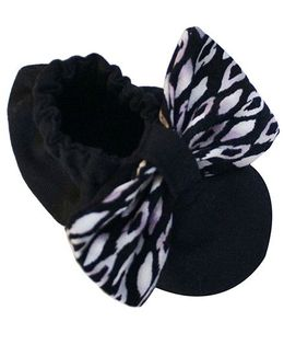 Bootie Patootie Bow Flat Booties - Black