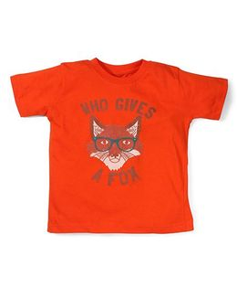 Toddler Tee Caption Print Who Gives A Fox - Mandarian Orange