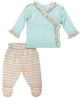 Under The Nile Side Snap Layette Set - Sea Green Pink
