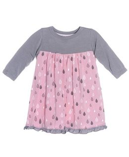 Kickee Pants  Long Sleeve Swing Dress Rain Drops Print - Grey And Pink