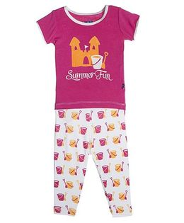Kickee Pants Short Sleeve Top And Pajama Set Shovel And Pail Print - Pink