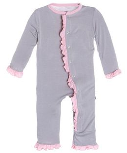Kickee Pants Solid Ruffle Coverall - Grey And Pink