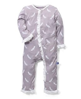 Kickee Pants Ruffle Coverall Falling Feather Print - Grey