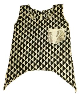 Sleeveless Uneven Hemline Top - Black And White