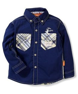 Kidsplanet Full Sleeves Shirt Two Pockets - Navy Blue