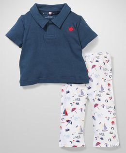 Magnificent Baby Polo Shirt And Pant - Blue & White