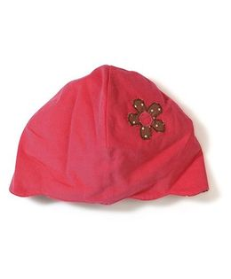 Funkie Baby Flower Print Reversible Hat - Red