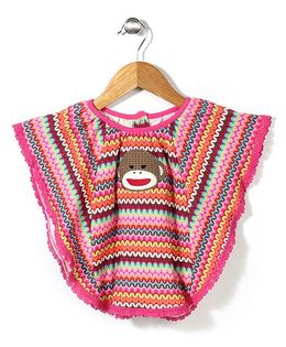 Baby Starters Monkey Printed Poncho - Pink
