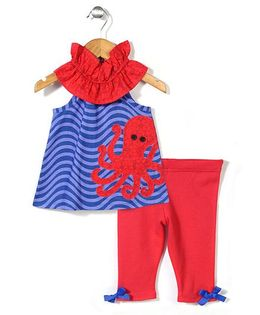 Mud Pie Octopus Printed Tunic & Leggings Set - Blue & Red