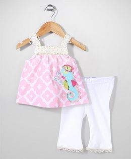 Mudpie Adorable Top & Leggings - Pink & White