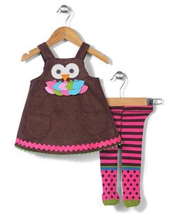 Mud Pie Owl Design Set - Brown & Pink