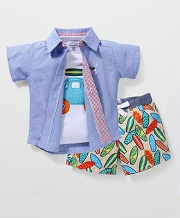 Mud Pie Flower Print T-Shirt & Shorts Set - White & Blue