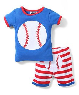 Mud Pie Baseball Print T-Shirt & Short Set - White Blue & Red