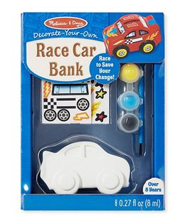 Melissa & Doug Race Car Wooden Bank Decorating Set