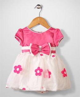 Beautiful Girl Bow & Flower Print Frock - Pink & white