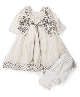 Shruti Jalan Crushed Kurta With Jacket & Churidar Set  - White