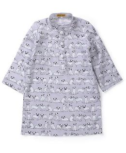 Shruti Jalan Dog Print Kurta - Grey & White