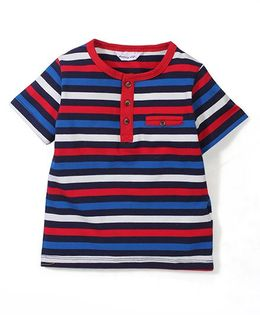 Candy Hearts Striped Tee - Blue & Red