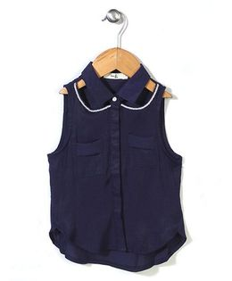 Candy Hearts Shirt Style Top - Navy Blue