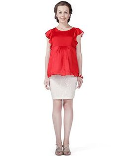House of Napius Radiation Safe Peplum Dress - Red