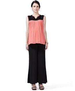 House of Napius Sleeveless Maternity Radiation Safe Tunic Top And Plazo Pants - Coral & Black