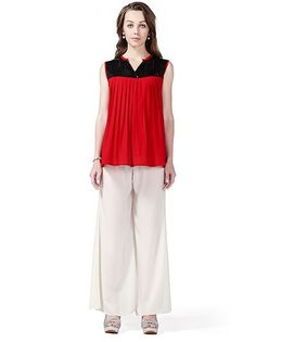 House of Napius Sleeveless Maternity Radiation Safe Tunic Top And Plazo Pants - Red Black White