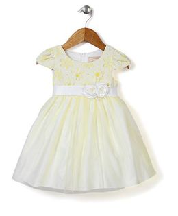 Beautiful Girl Floral Party Dress - Yellow