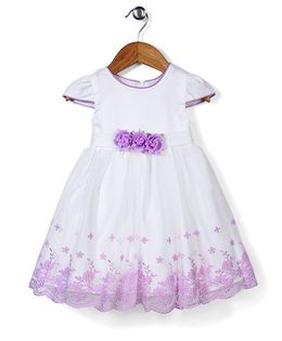 Beautiful Girl Short Sleeve Party Dress With Flower - White