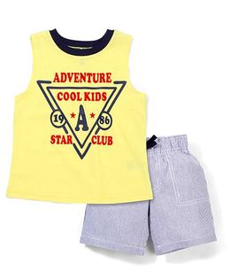 Candy Hearts Adventure Cool Kids Print Tee & Shorts Set - Yellow & Grey