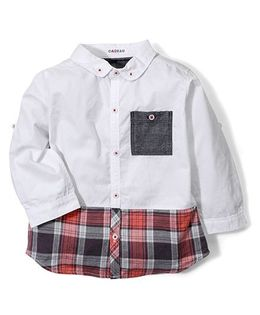 Kidsplanet Full Sleeves Checked Shirt - White