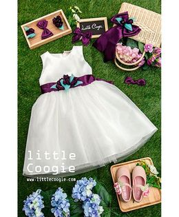 Little Coogie Flower Applique Dress - White & Purple
