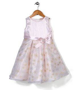 Little Coogie Flower Print Dress With Brooch - Baby Pink