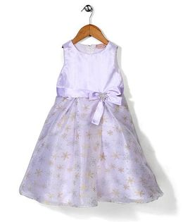 Little Coogie Flower Print Dress With Brooch - Purple