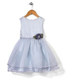 Little Coogie Flower Print Rose Embellished Dress - Light Blue