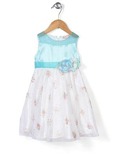 Little Coogie Flower Print Dress - Blue