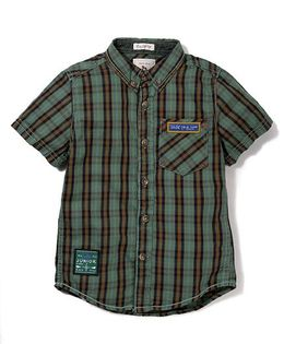 Police Zebra Juniors Checks Print Shirt - Dark Green