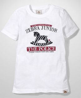 Police Zebra Juniors The Police Print T-Shirt - White
