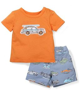 Sterling Baby Vehicle Print T-Shirt & Shorts Set - Orange & Blue
