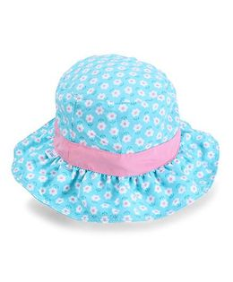 I Play Flower Printed Sun Protection Hat - Blue