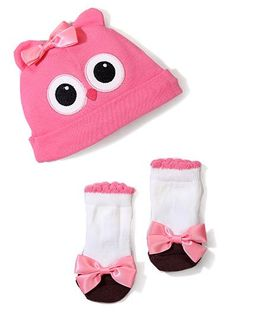 Lovespun Owl Design Cap & B Set - Pink & White